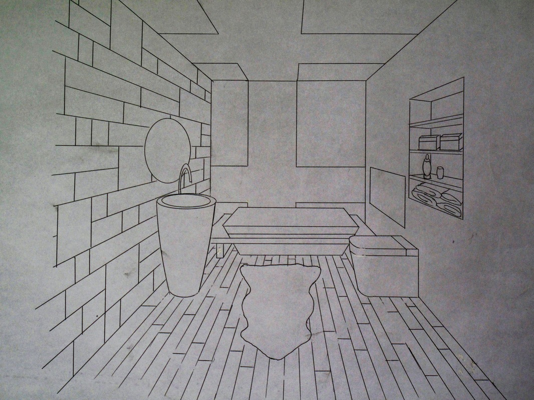 Bathroom perspective drawing - One Point Perspective Bathroom Rendering Dawn Hershberger Design