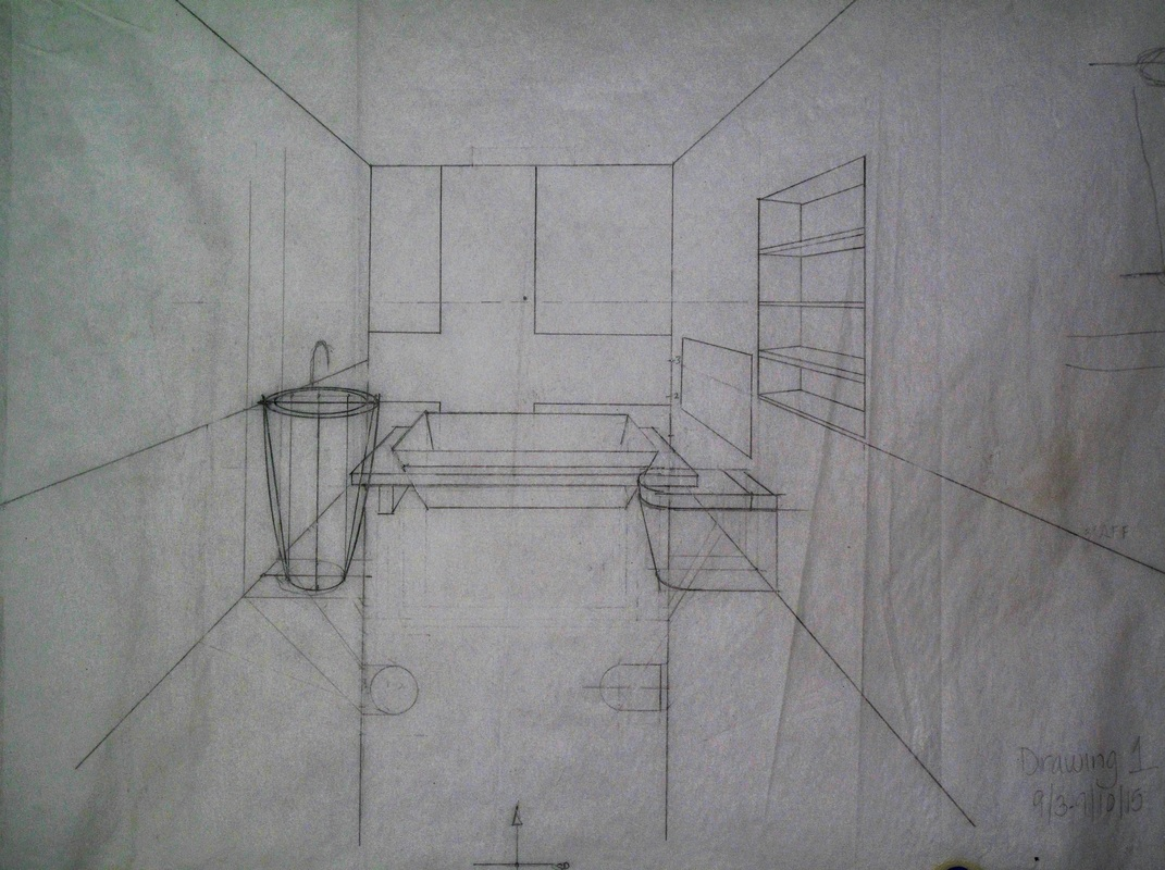 Bathroom perspective drawing - Layout Sketch Pencil Sketch On Trace Inked Drawing Ready For Rendering